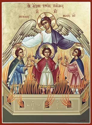 The Book of Daniel : Prayer of the Three Holy Children dans images sacrée Agioipaides