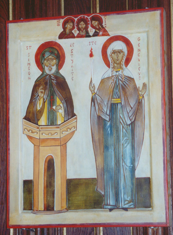Icon of Ss. Genevieve and Simeon the Stylite at her tomb in Paris