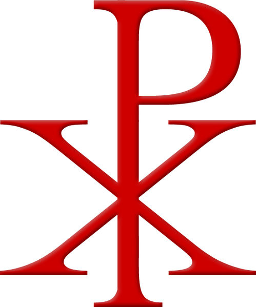 "The Chi Rho symbol, the first two letters of Jesus Christ in Greek, which Constantine saw in a vision along with the words ""in hoc signo vinces."""