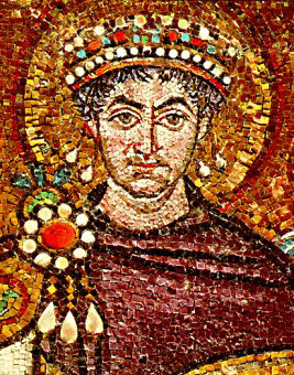 St Justinian, Emperor of Rome and Byzantium in the sixth century.